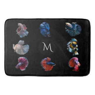 Colorful Fish custom monogram bath mats