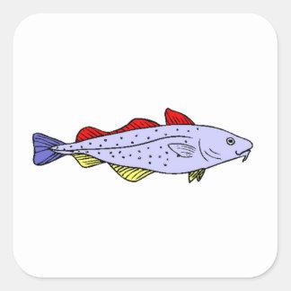 Colorful Fish Square Stickers
