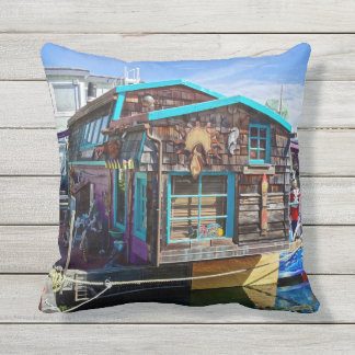 Colorful Fishermans Houseboat Outdoor Throw Pillow