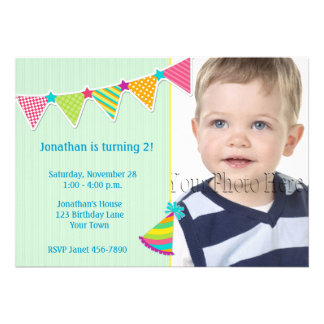 Colorful Flags Green Birthday Photo Invitation