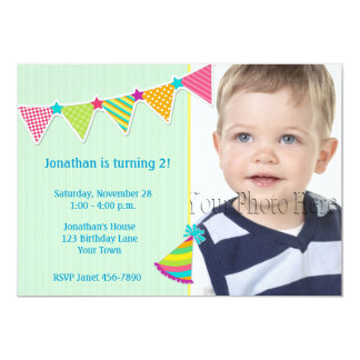 Colorful Flags, Green, Birthday Photo Invitation