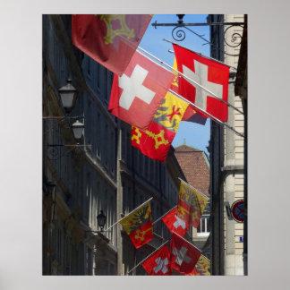 Colorful Flags in Geneva, Switzerland Poster