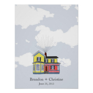 Colorful Floating Home Fingerprint Guestbook Poster