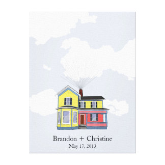 Colorful Floating Home Fingerprint Guestbook Stretched Canvas Prints