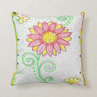 Colorful Floral Art Throw Pillow