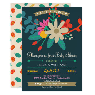 Colorful Floral Baby Shower Invitation