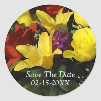 Colorful Floral Bouquet Save The Date Stickers