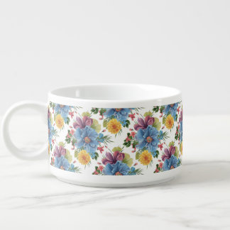 Colorful Floral Bouquet Seamless Pattern Chili Bowl