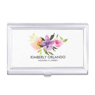 Colorful Floral Bouquet Watercolors Illustration Business Card Holder