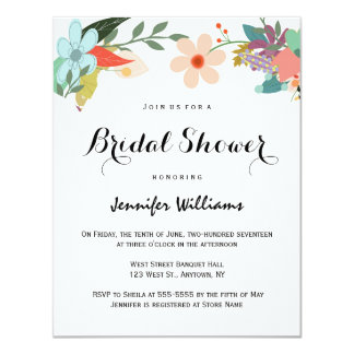 Colorful floral bridal shower invitations