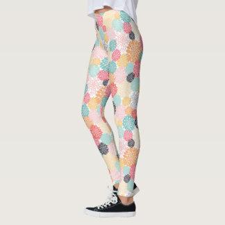 Colorful Floral Burst Pattern Leggings