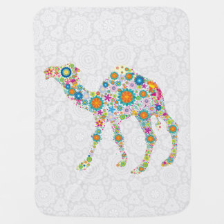 Colorful Floral Camel Illustration Baby Blanket