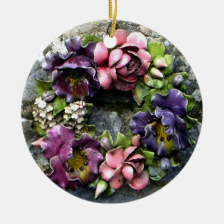 Colorful floral cemetery wreath round ceramic ornament