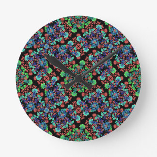 Colorful Floral Collage Pattern Round Clock