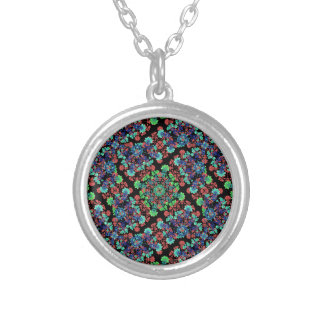 Colorful Floral Collage Pattern Silver Plated Necklace