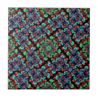 Colorful Floral Collage Pattern Tile