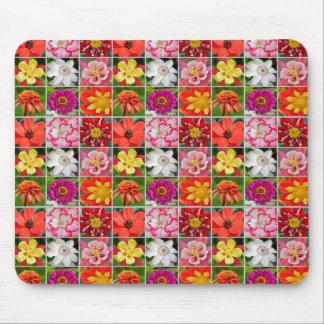 Colorful floral collage print mousepad