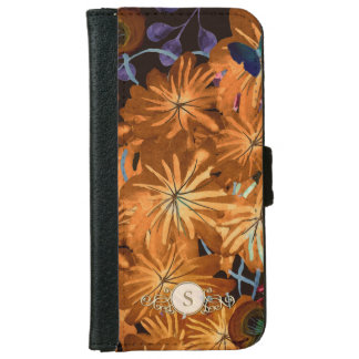 Colorful Floral Custom Circle Monogram for Her iPhone 6 Wallet Case