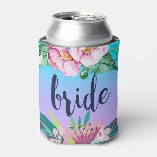 Colorful Floral Design & Bride Text Can Cooler