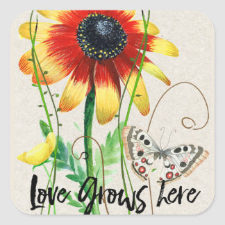 Colorful floral design with Love grows here phrase Square Sticker