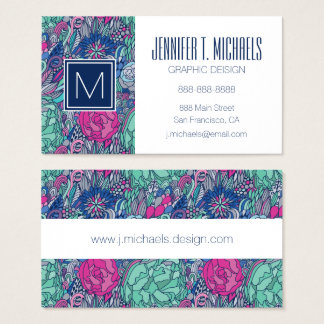 Colorful Floral Doodle Pattern Business Card