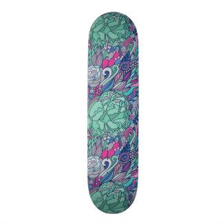 Colorful Floral Doodle Pattern Skateboard Decks