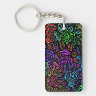 Colorful Floral (double-sided) Rectangle Key Chain