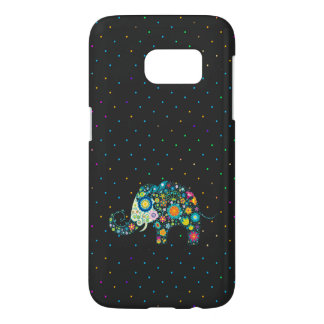 Colorful Floral Elephant & Colorful Dots Pattern Samsung Galaxy S7 Case