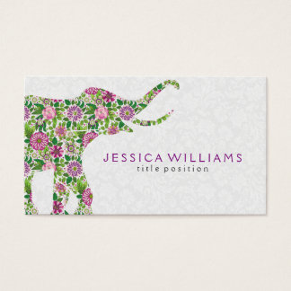 Colorful Floral Elephant Illustration Business Card