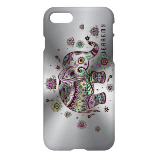 Colorful Floral Elephant & Metallic Silver Back iPhone 7 Case