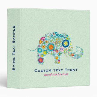 Colorful Floral Elephant & Mint-Green Background 3 Ring Binder