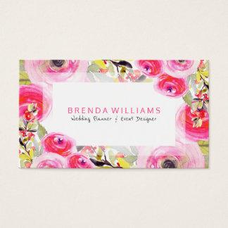 Colorful Floral Explosion Wedding Planner Design Business Card