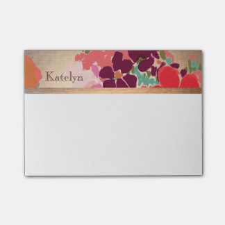 Colorful Floral, Gold Elegant Fashion Personalized Post-it® Notes