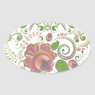 Colorful Floral Heart 2 Oval Sticker
