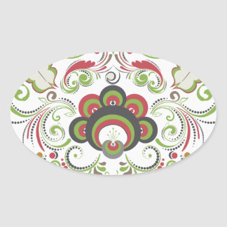 Colorful Floral Heart Oval Sticker