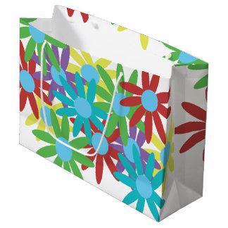 Colorful Floral Illustrated Design Large Gift Bag