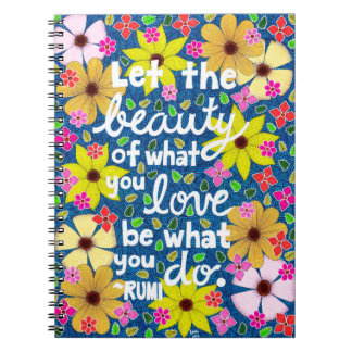 Colorful Floral Inspiring Quote Typography Spiral Notebook