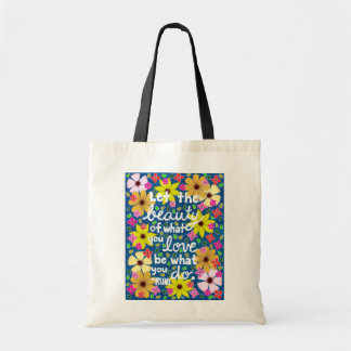 Colorful Floral Inspiring Quote Typography Tote Bag