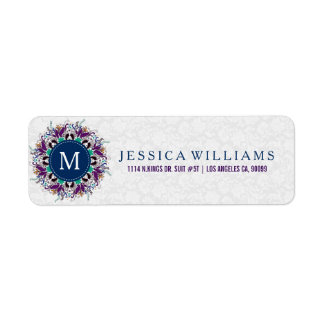 Colorful Floral Mandala With Monogram