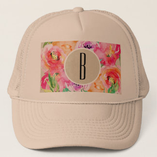 Colorful Floral Modern Rustic Botanical Kraft Trucker Hat