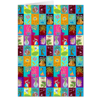 Colorful Floral Mosaic Blank Card
