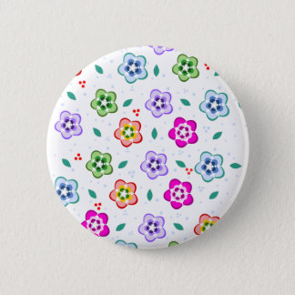 Colorful Floral pattern 2 Inch Round Button