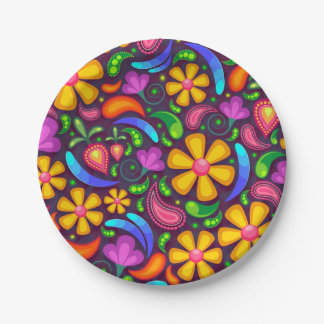 Colorful Floral Pattern 7 Inch Paper Plate
