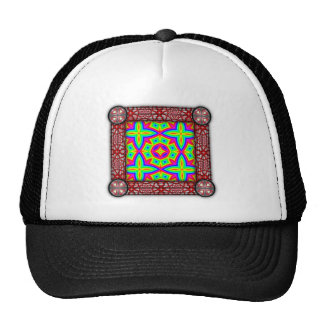 Colorful Floral Pattern Big Trucker Hats