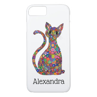 Colorful Floral Pattern Cat Monogram Name iPhone 8/7 Case
