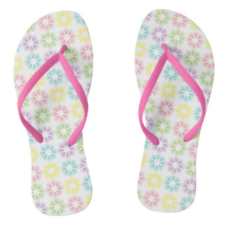 Colorful floral pattern flip flops
