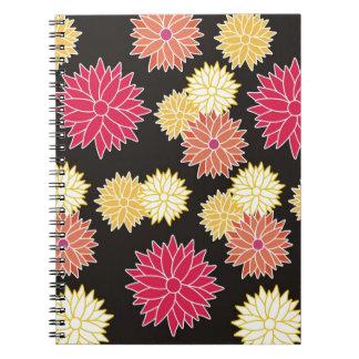 Colorful Floral Pattern On Black Spiral Notebook
