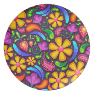 Colorful Floral Pattern Party Plate