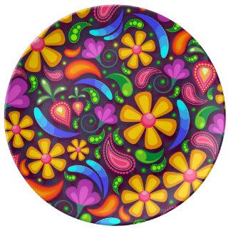 Colorful Floral Pattern Porcelain Plates