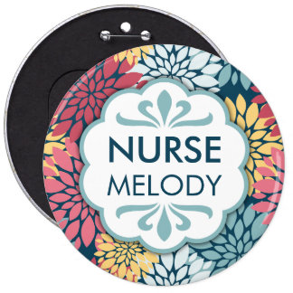 Colorful Floral Pattern RN Name 6 Inch Round Button